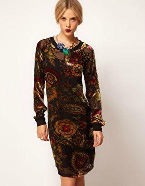 ASOS - Robe pull à motif baroque dévoré