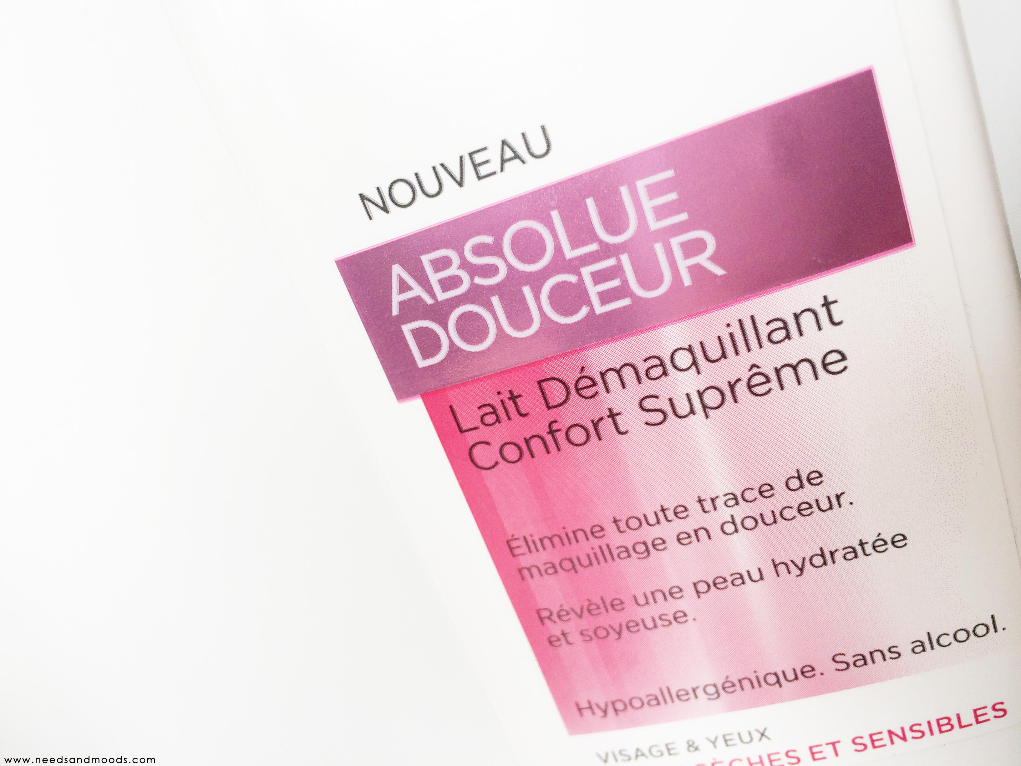 Blog beauté L'oréal absolue douceur lait visage
