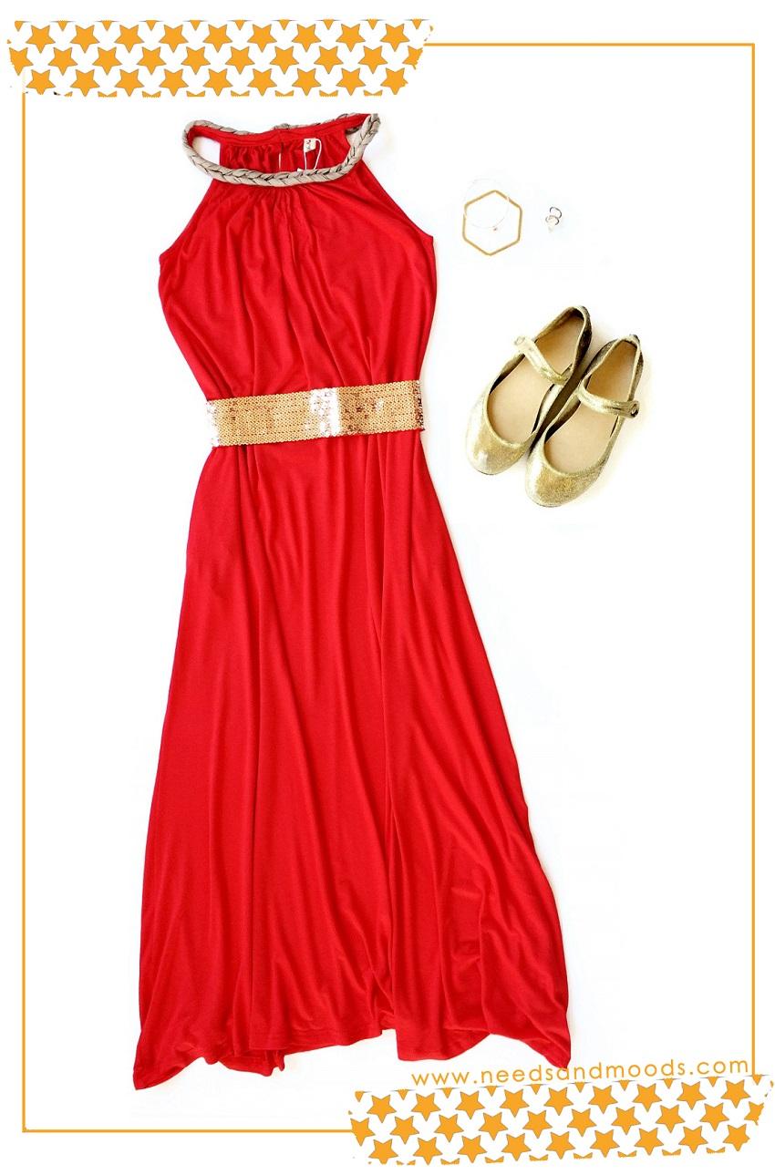Robe rouge et dorée Tmart
