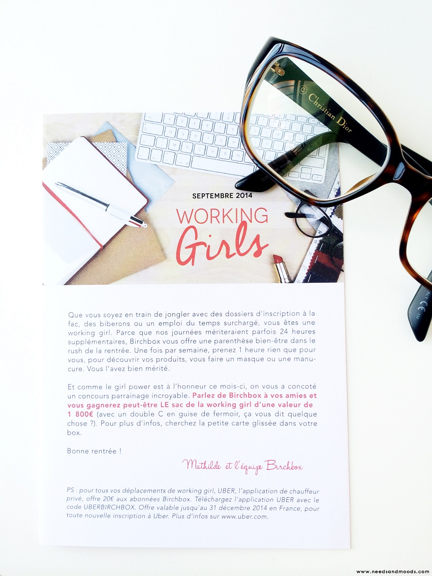 contenu Birchbox septembre 2014 working girls