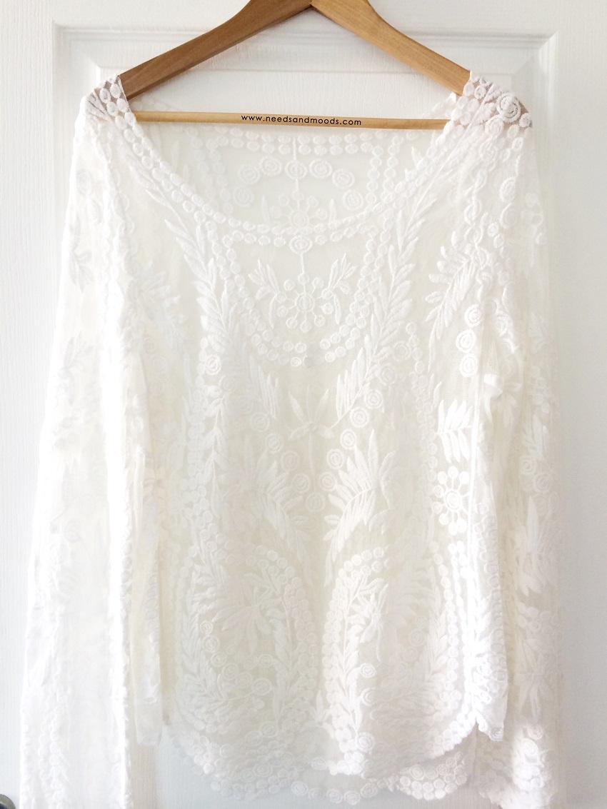 blouse dentelle blanche Tmart