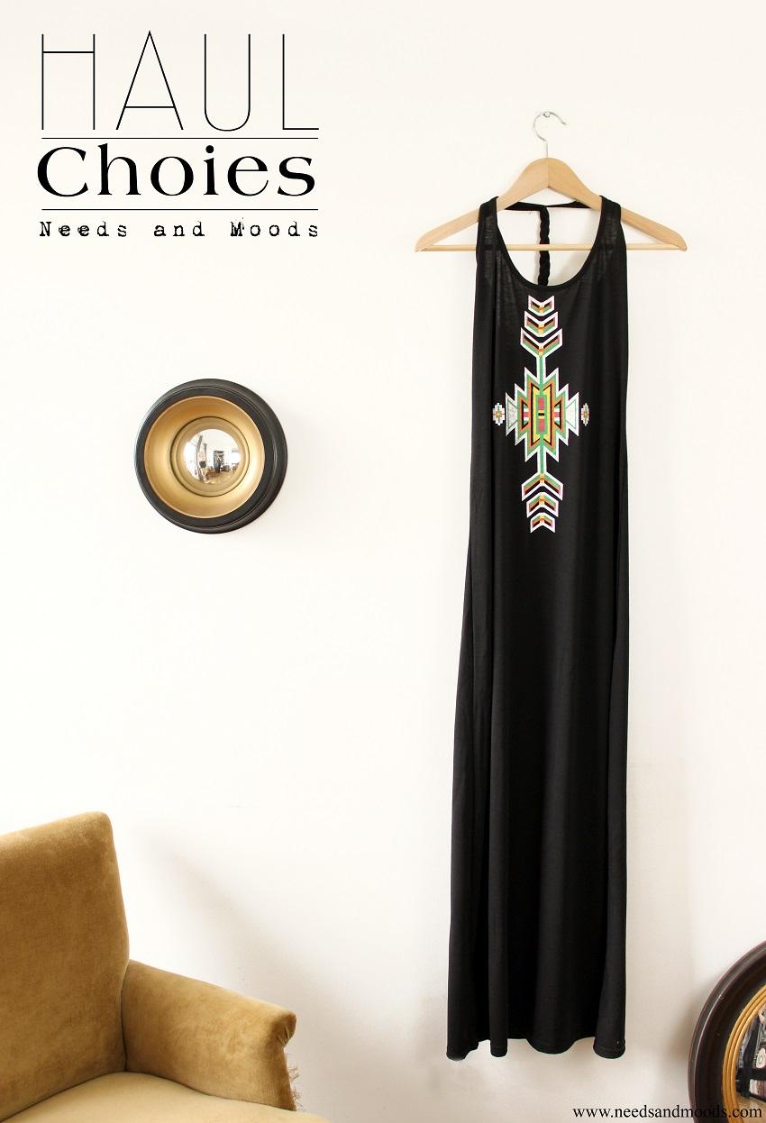 robe longue noire aztec choies