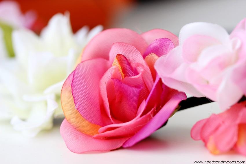 couronne de fleurs rose new look