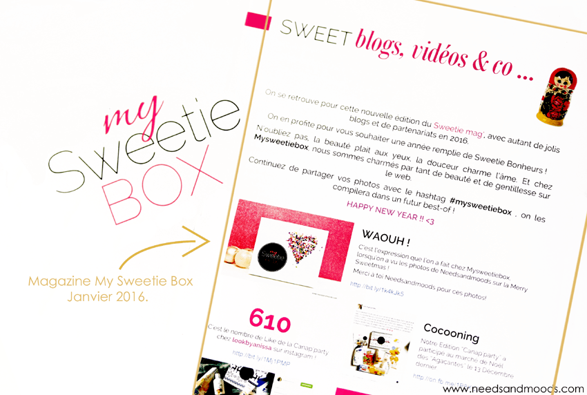 my sweetie box janvier 2016 needs and moods