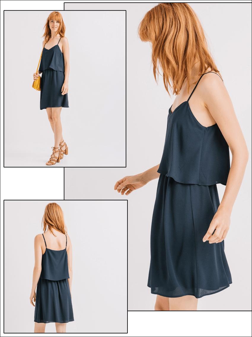 robe effet superposee bleu canard