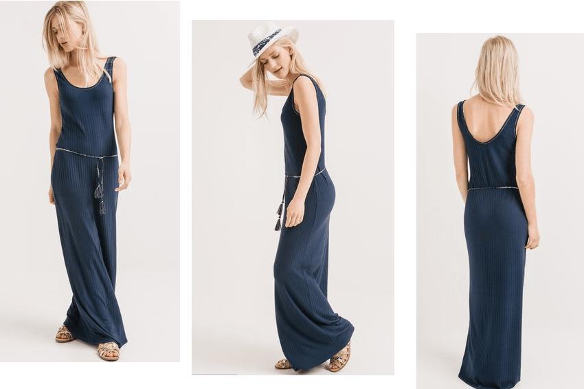 longue robe fluide bleu marine