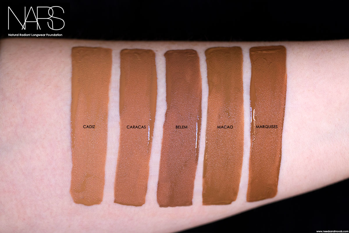 NARS natural radiant longwear foundation swatch cadiz caracas belem macao marquises