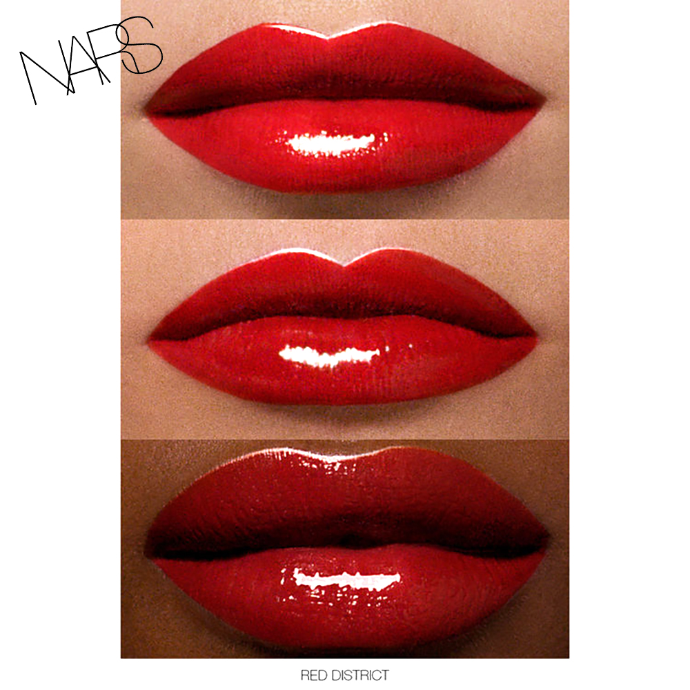 NARS Full Vinyl Lip lacquer red district swatch
