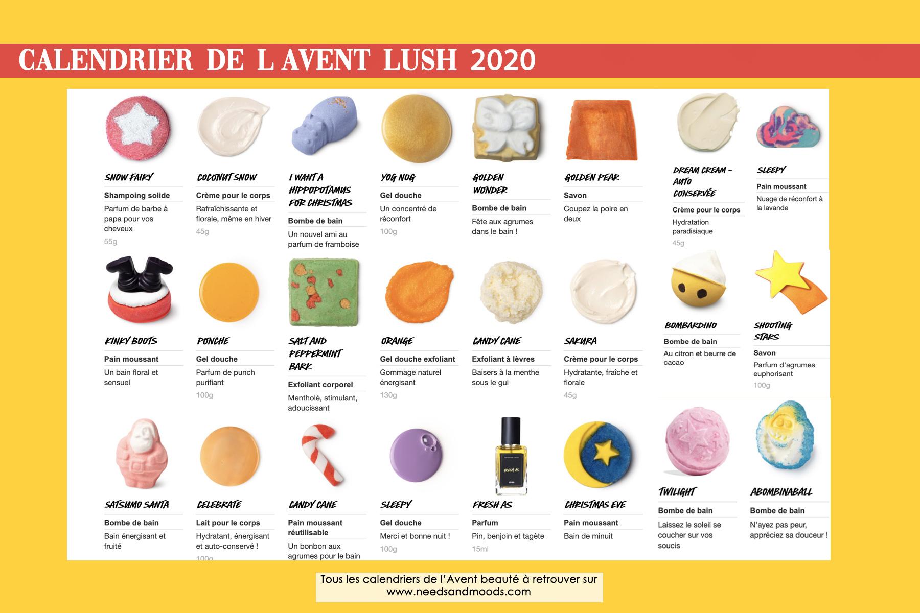 calendrier avent lush 2020 contenu