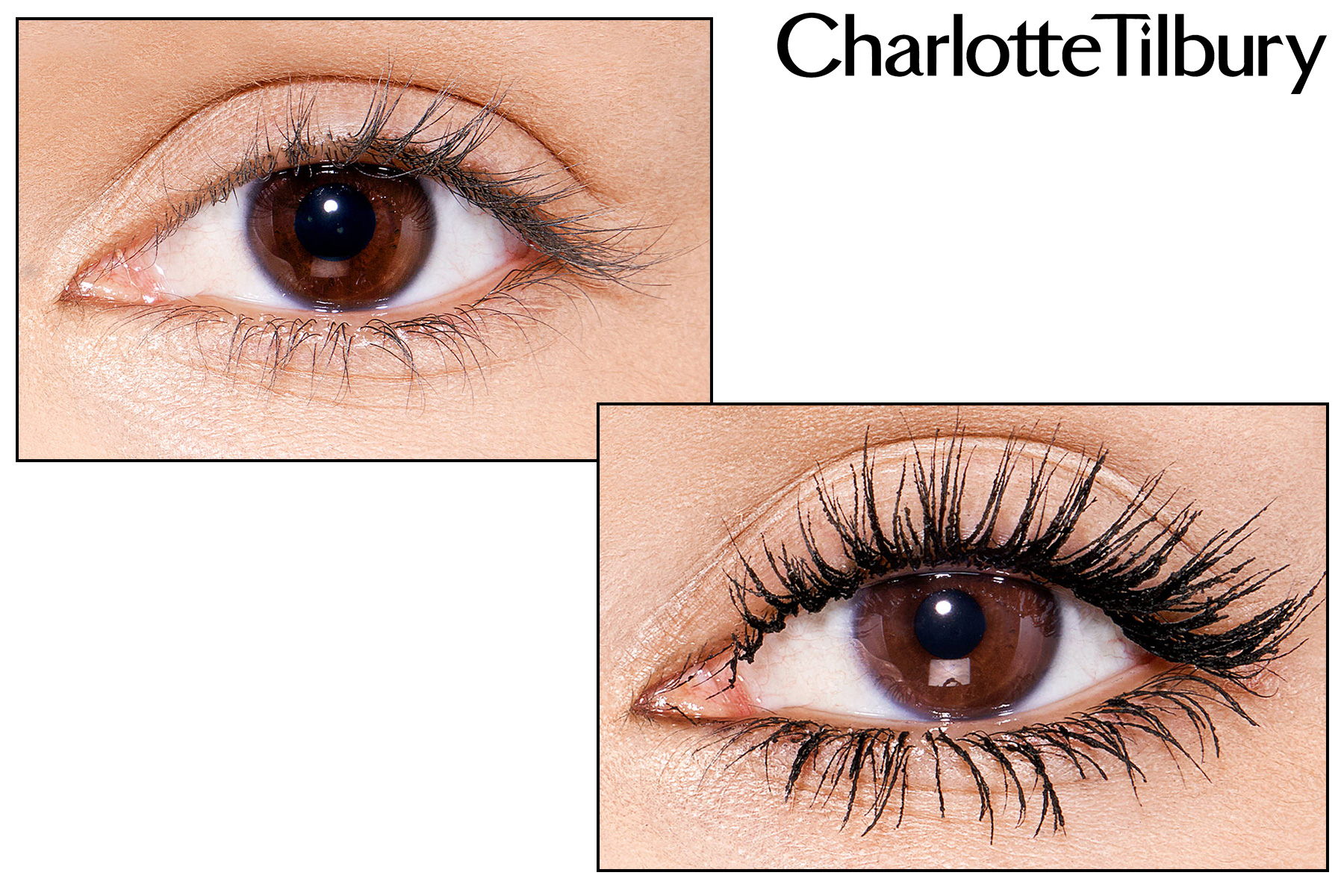 charlotte tilbury pillow talk push up lashes mascara swatch avant apres